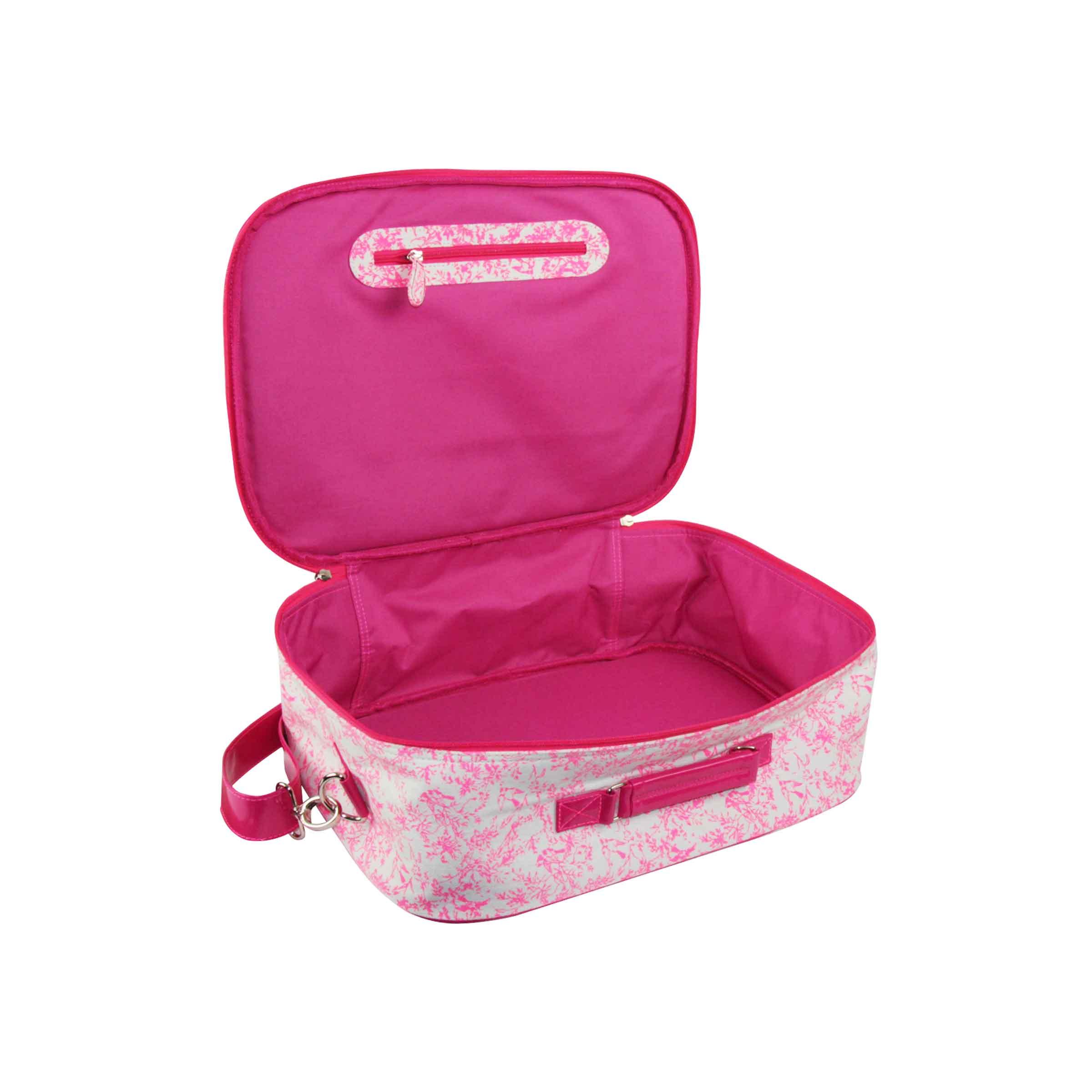 valise rose en toile de jouy