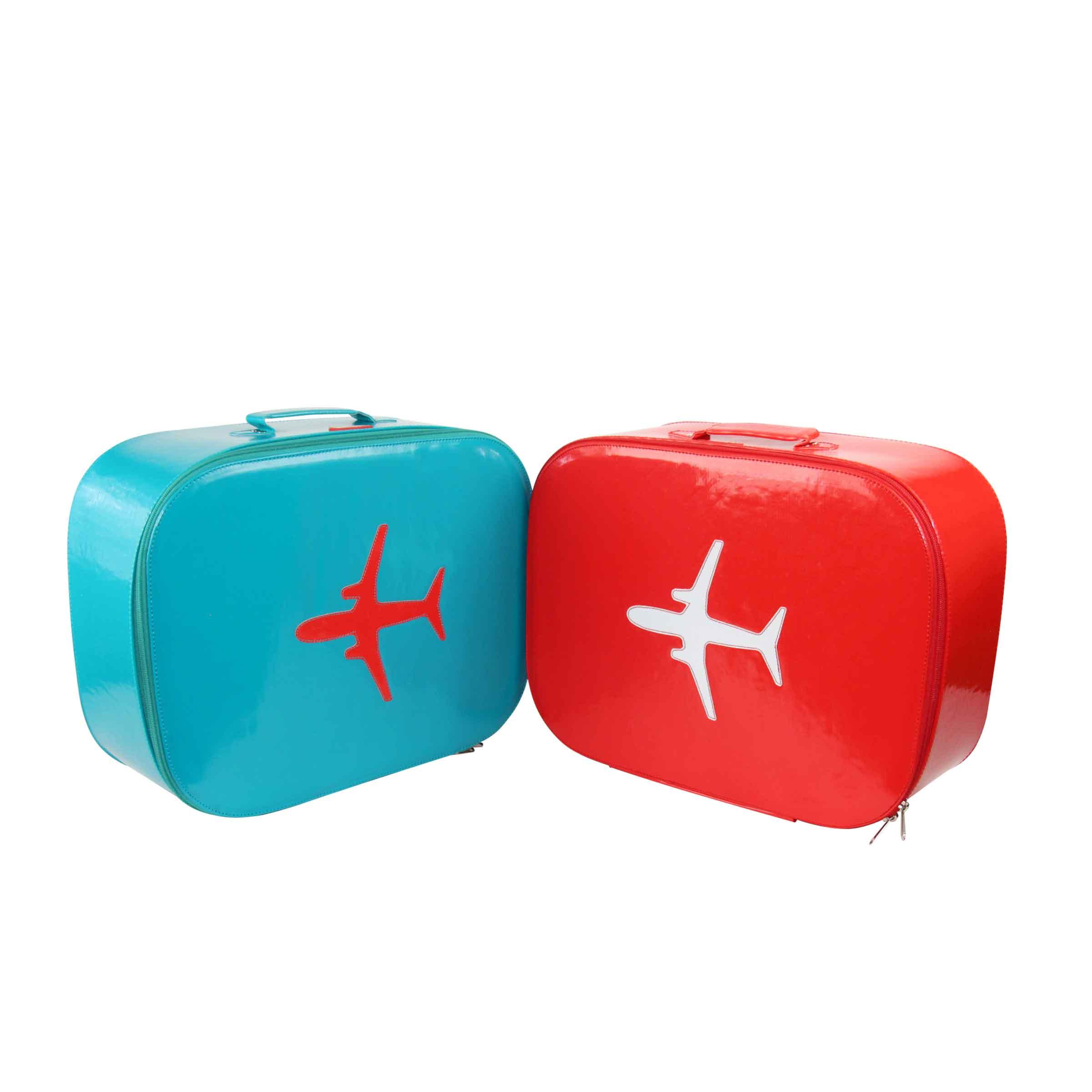 Valise pour enfant bleu vert avec une poignée et un motif avion placé rouge orangé taille M