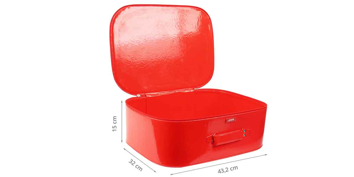 Dimensions de la valisette en vinyl rouge L