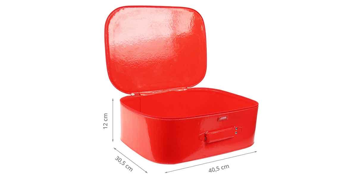 Dimensions de la valisette en vinyl rouge M