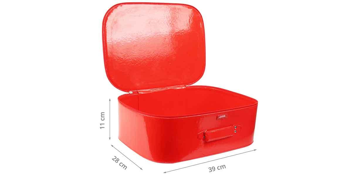 Dimensions de la valisette en vinyl rouge S