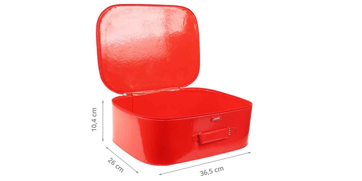 Dimensions de la valisette en vinyl rouge