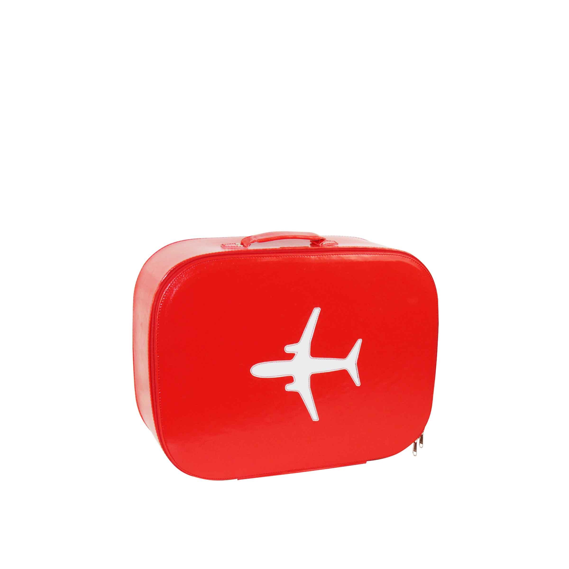 valise de rangement rouge rigide avec motif avion blanc taille XS