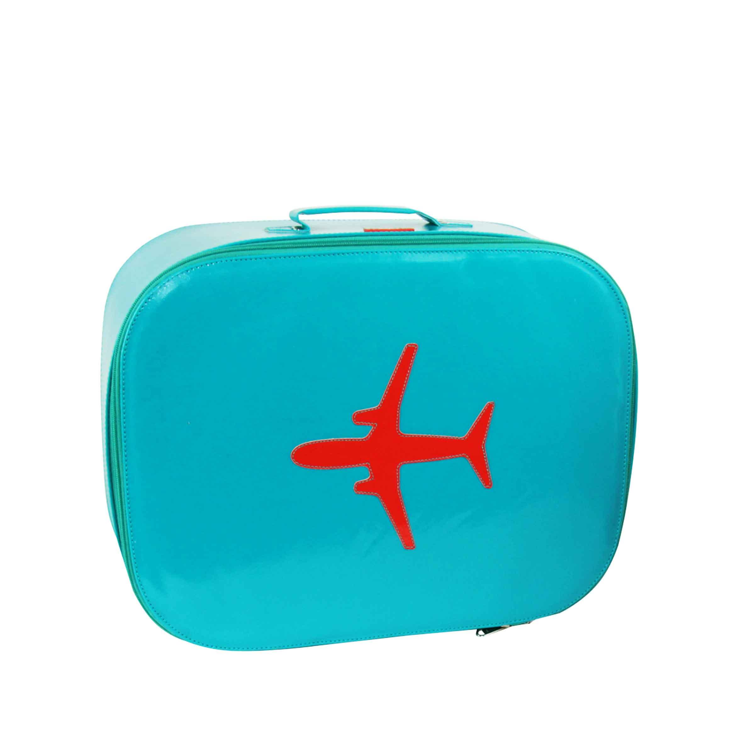 Valisette cabine bleu vert avec poignée sans roues, motif placé avion rouge orange