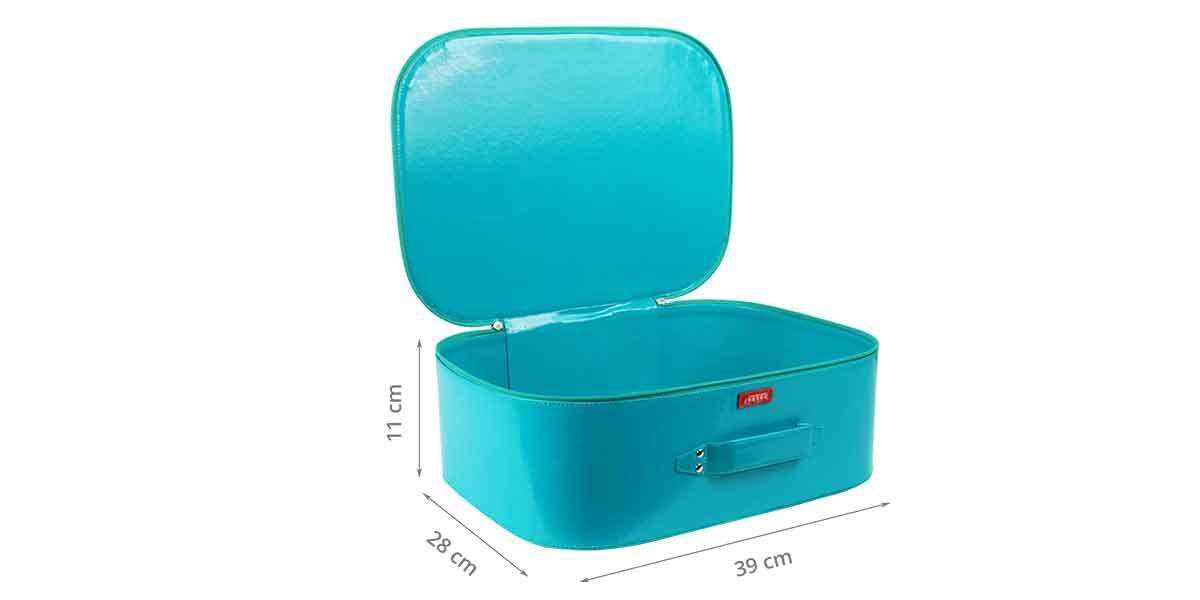 Dimensions de la valisette rigide bleue verte