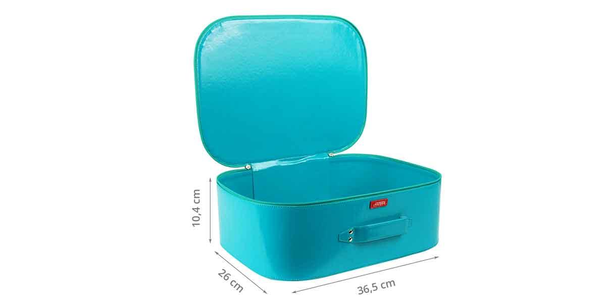 Dimensions de la valisette de rangement rigide bleue
