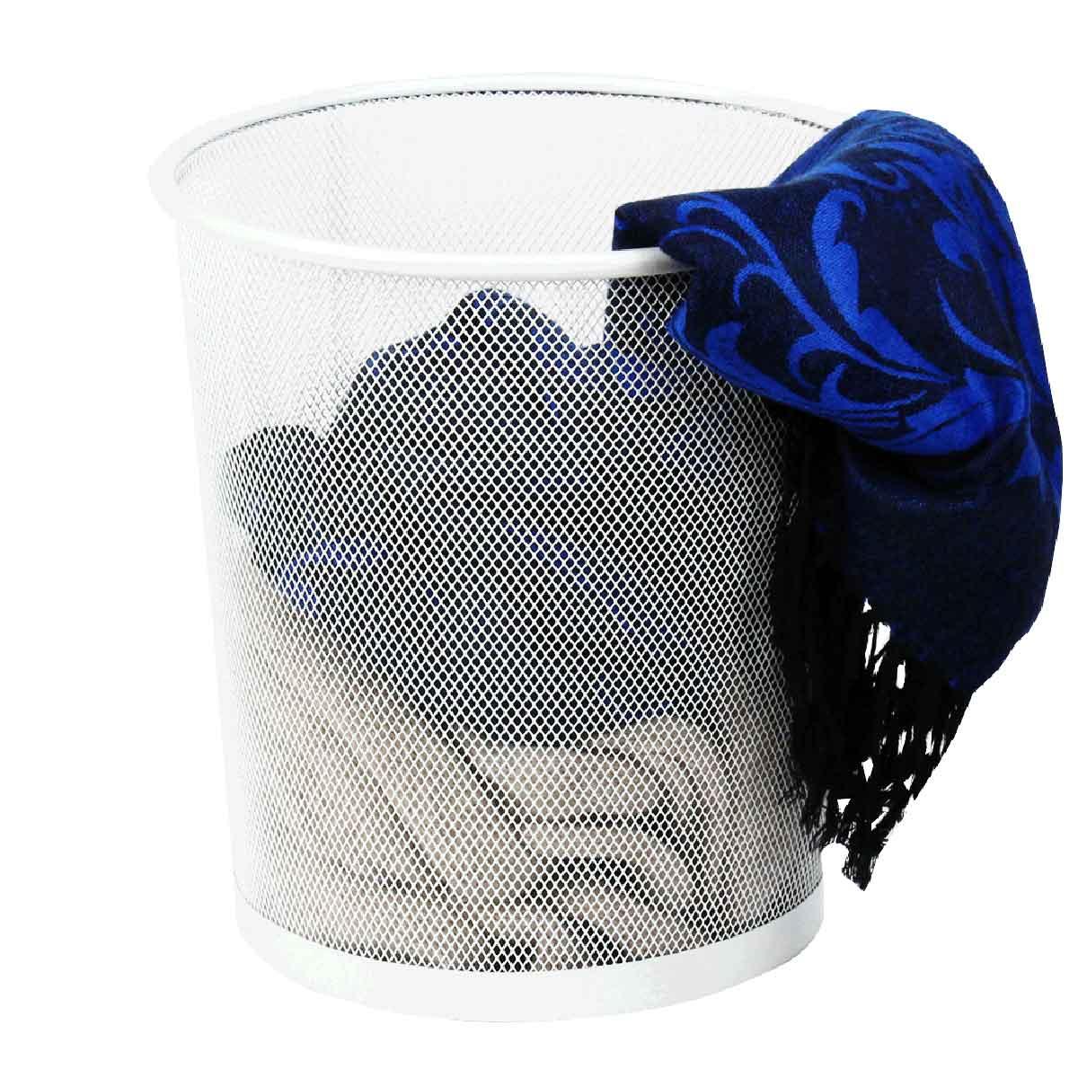 corbeille de rangement en m tal blanc 18 litres. Black Bedroom Furniture Sets. Home Design Ideas