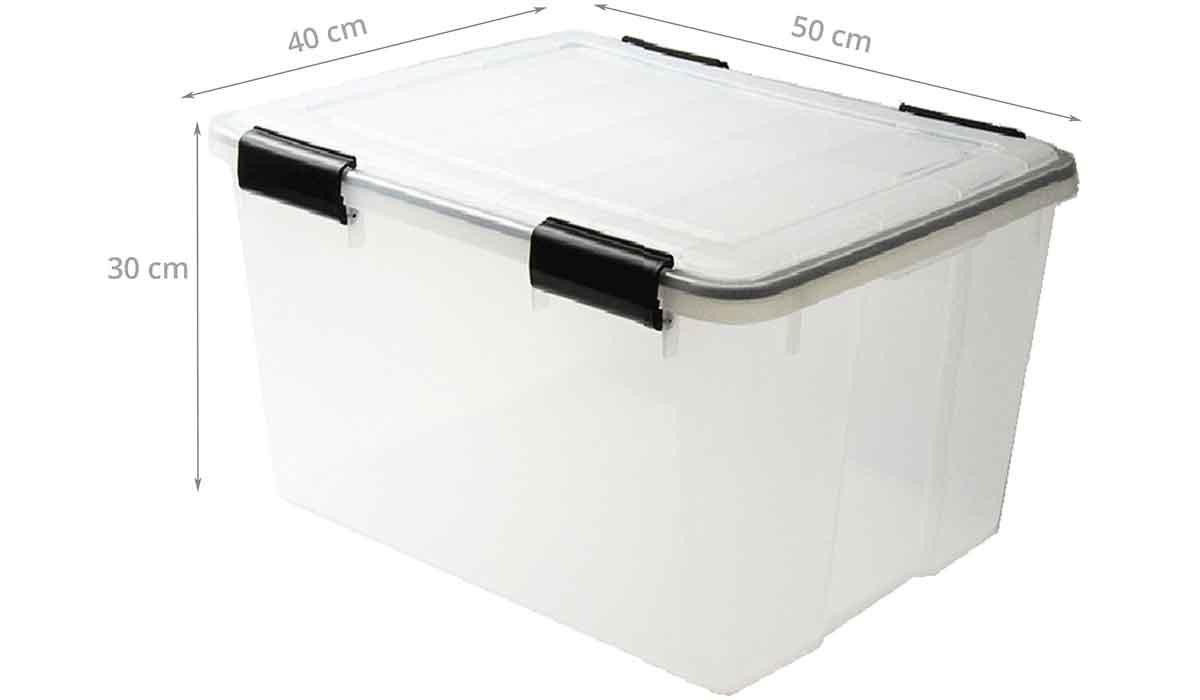 Boite Rangement Hermétique Cave boîte de stockage étanche en plastique translucide. 44 litres