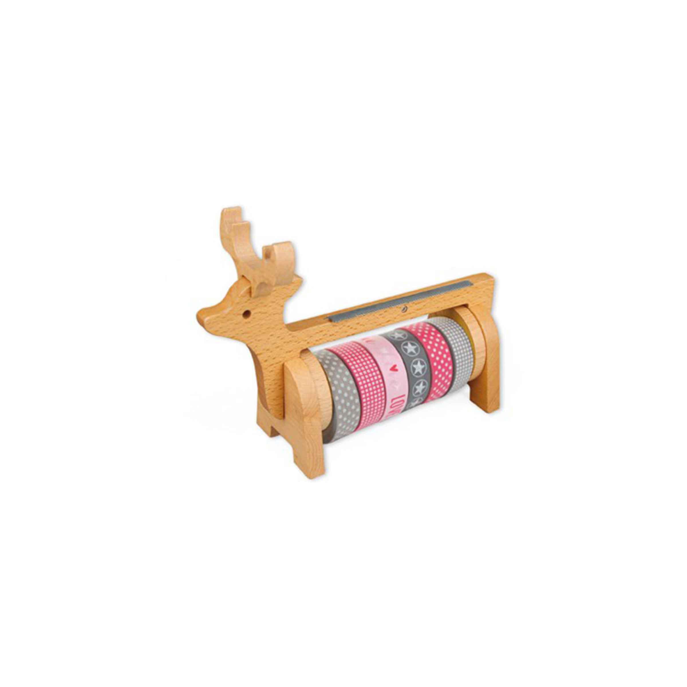 Dévidoir pour masking tape renne du père noël en bois