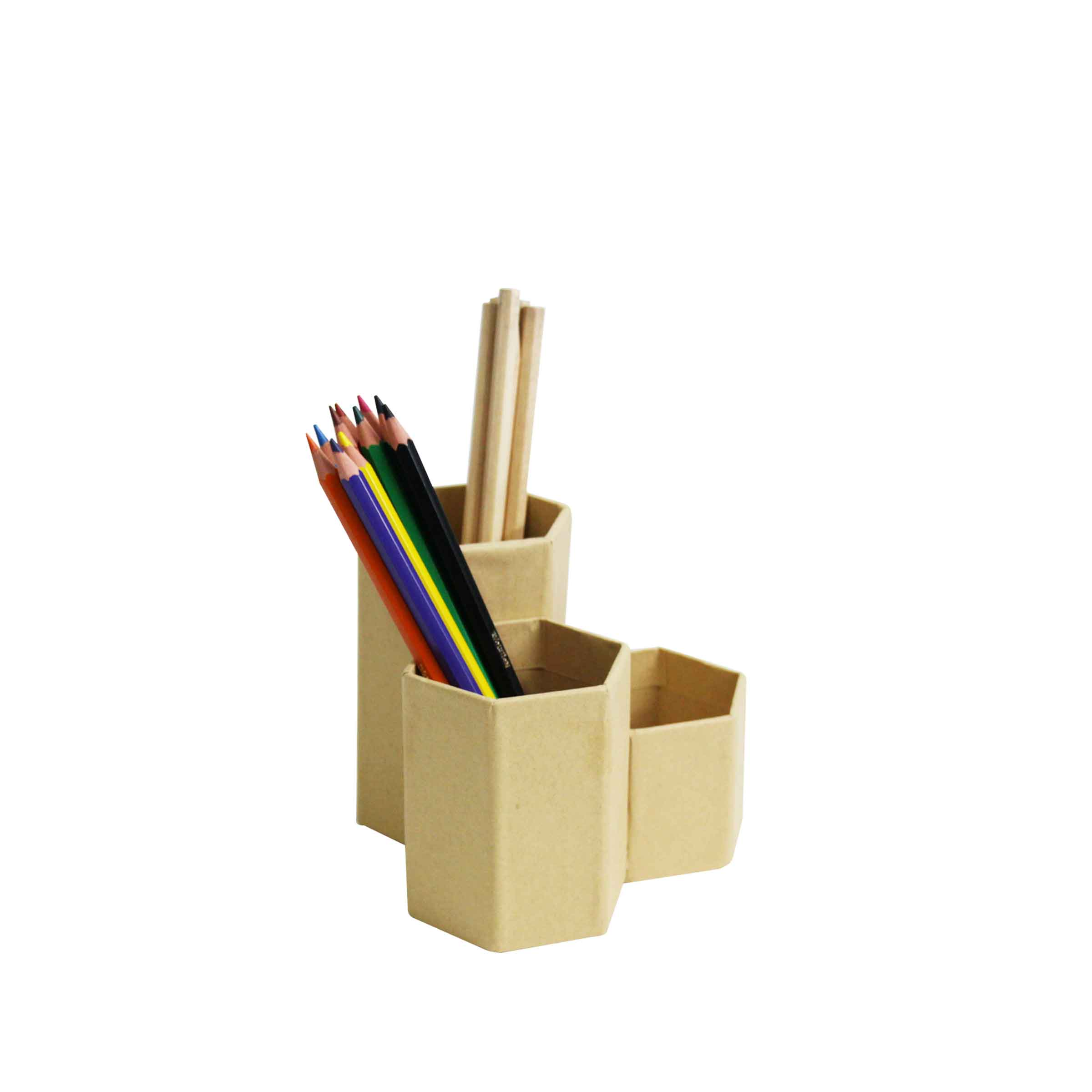 pot crayons 3 compartiments kraft. Black Bedroom Furniture Sets. Home Design Ideas