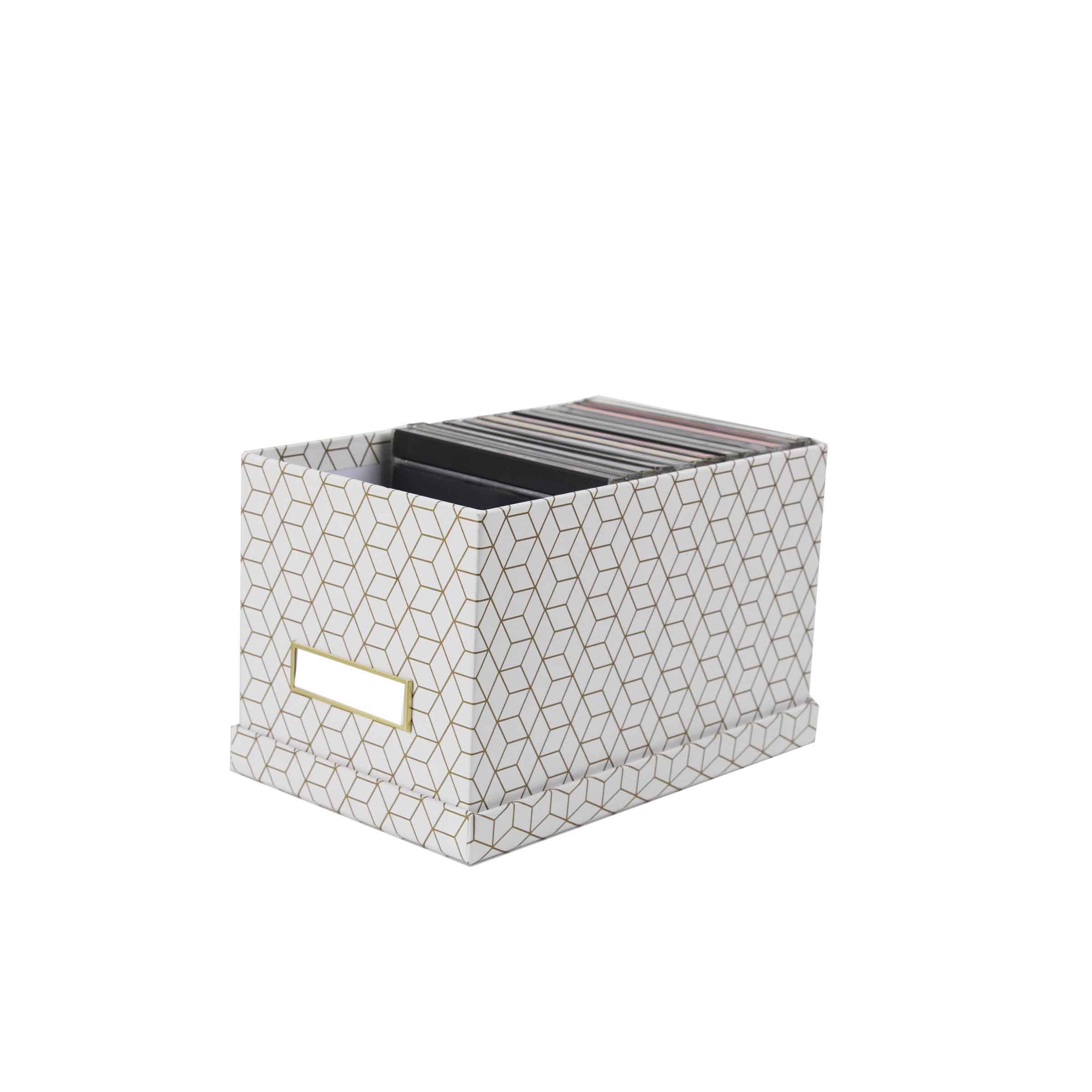 Boîte pour CD en carton blanc avec motifs géométriques dorés