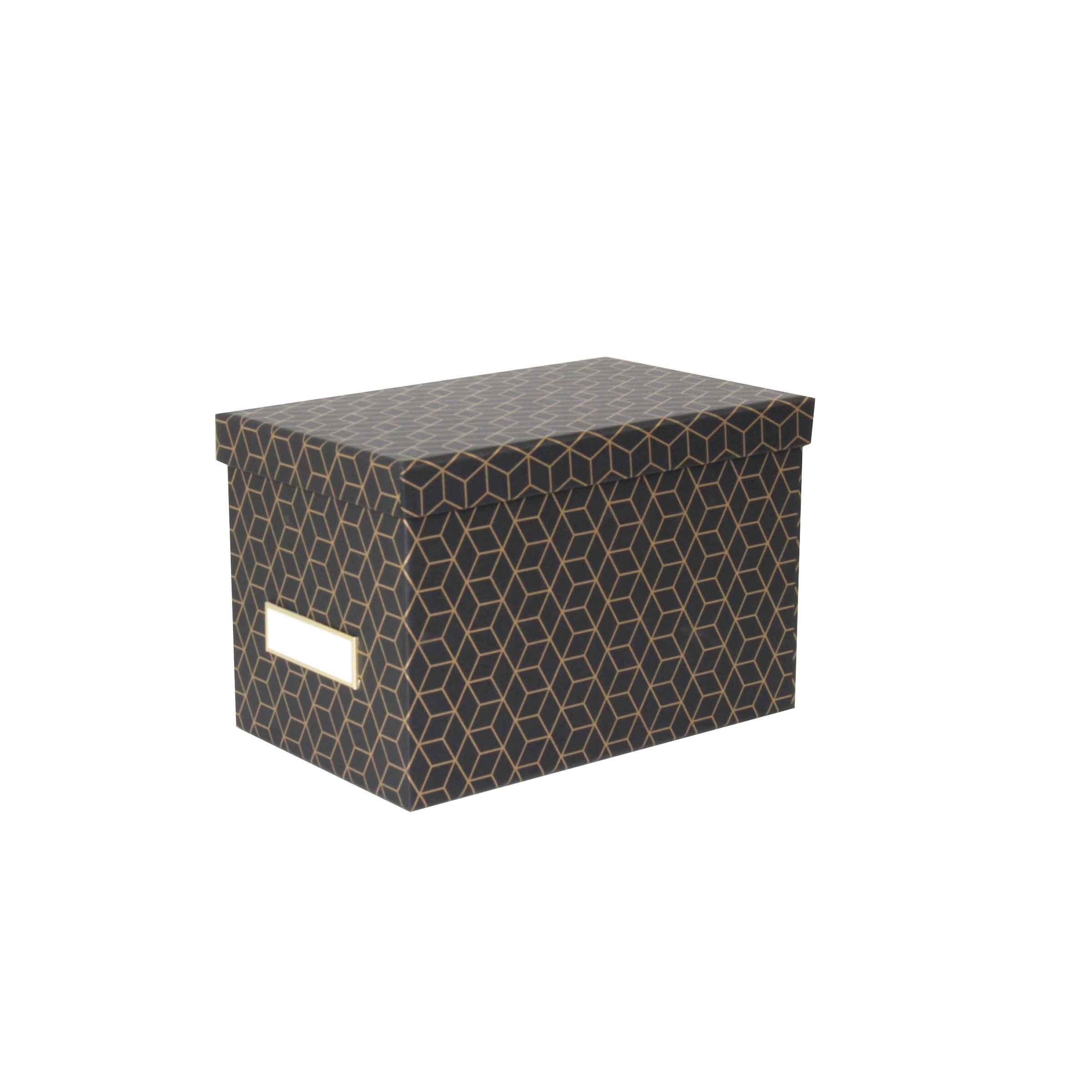 boîte en carton noir et motif géométrique doré avec couvercle et porte étiquette