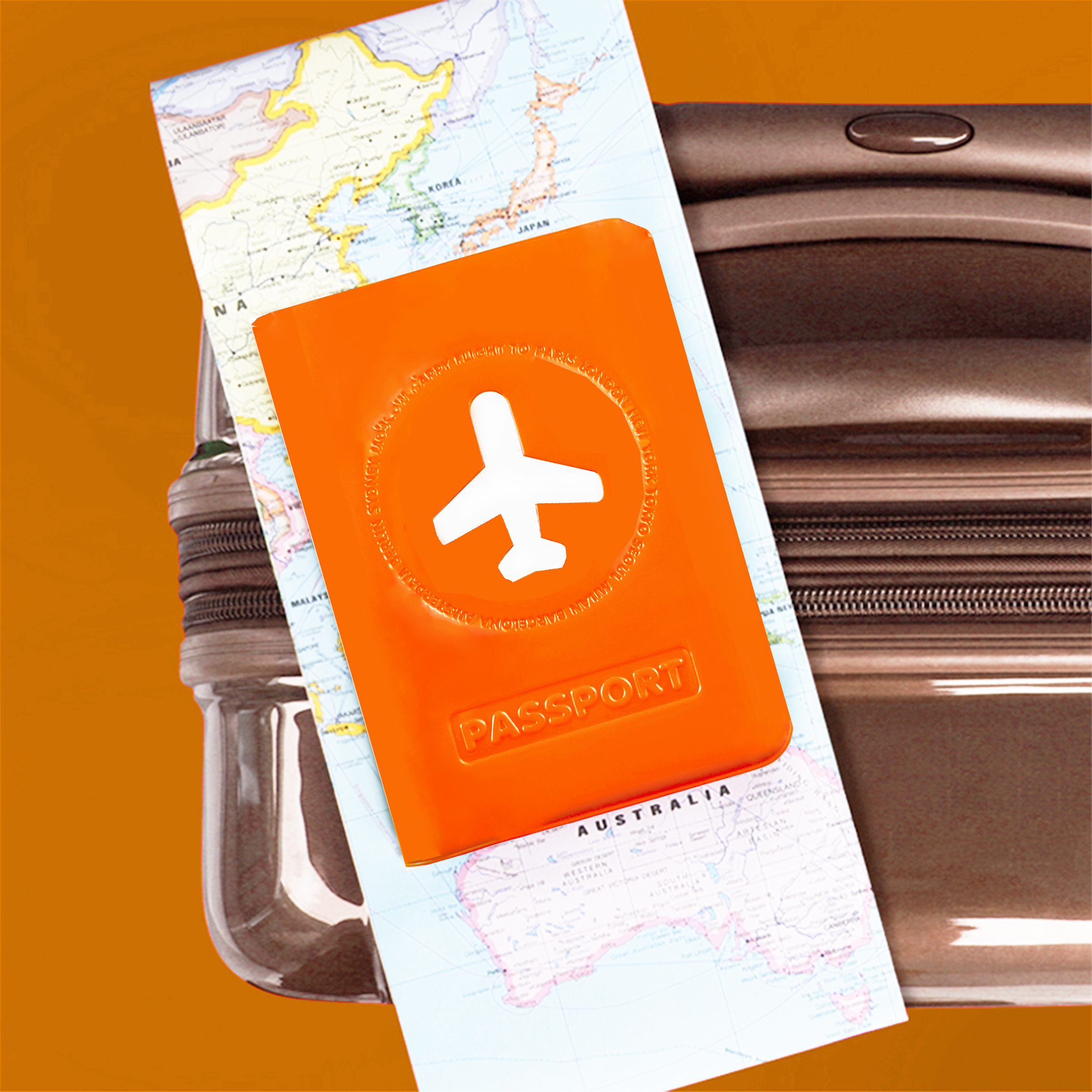 protège passeport en plastique orange brillant avec dessin avions blanc