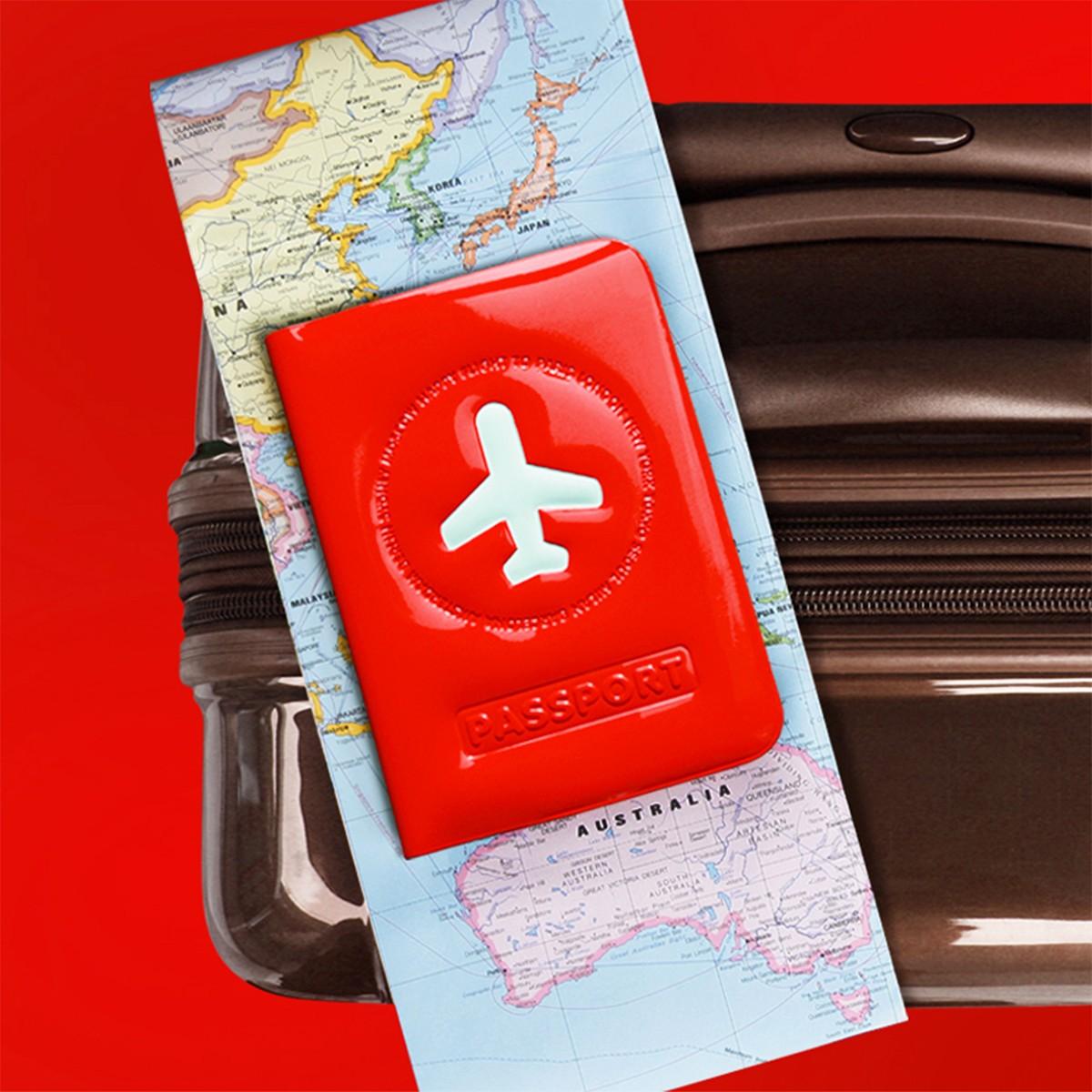 porte étiquette rectangulaire en plastique rouge pour bagage