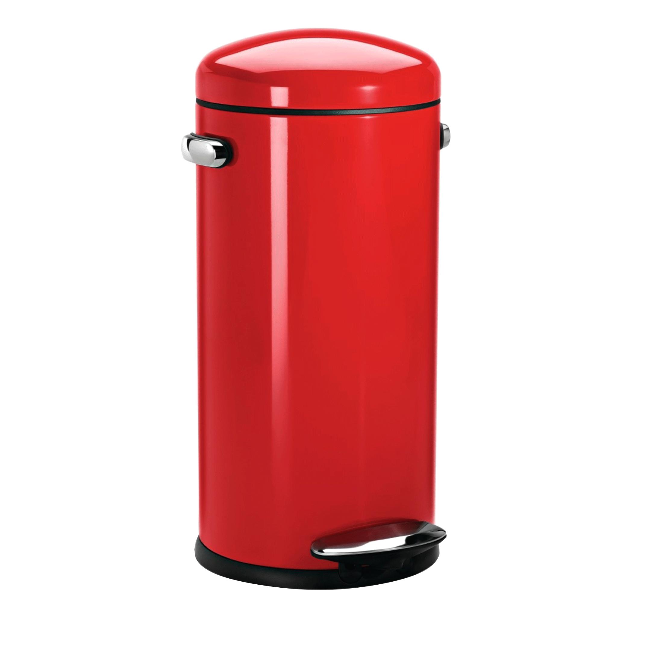poubelle r tro en m tal rouge p dale 30 litres cuisine. Black Bedroom Furniture Sets. Home Design Ideas