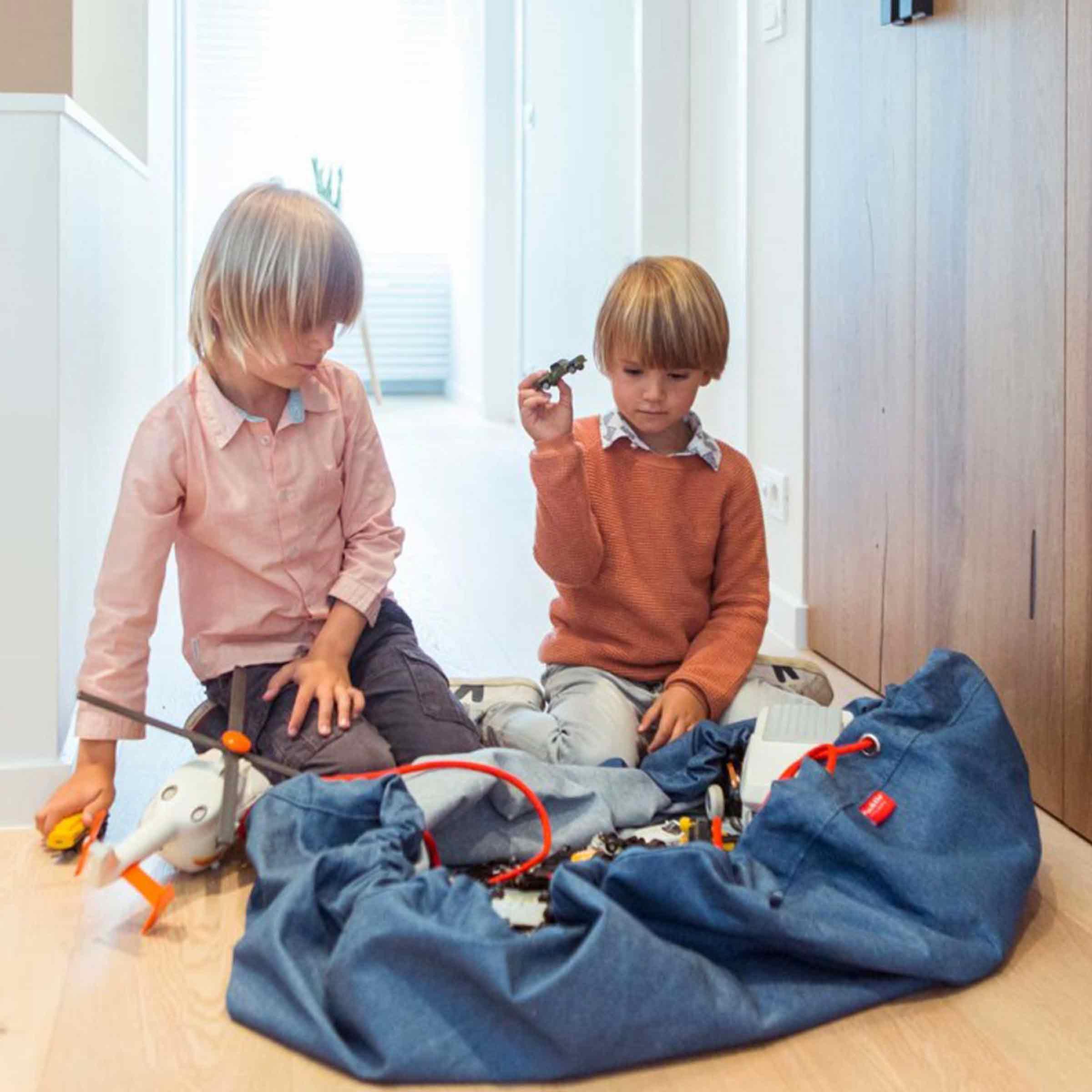 Sac de rangement tapis de jeu en tissu bleu jean avec cordon orange