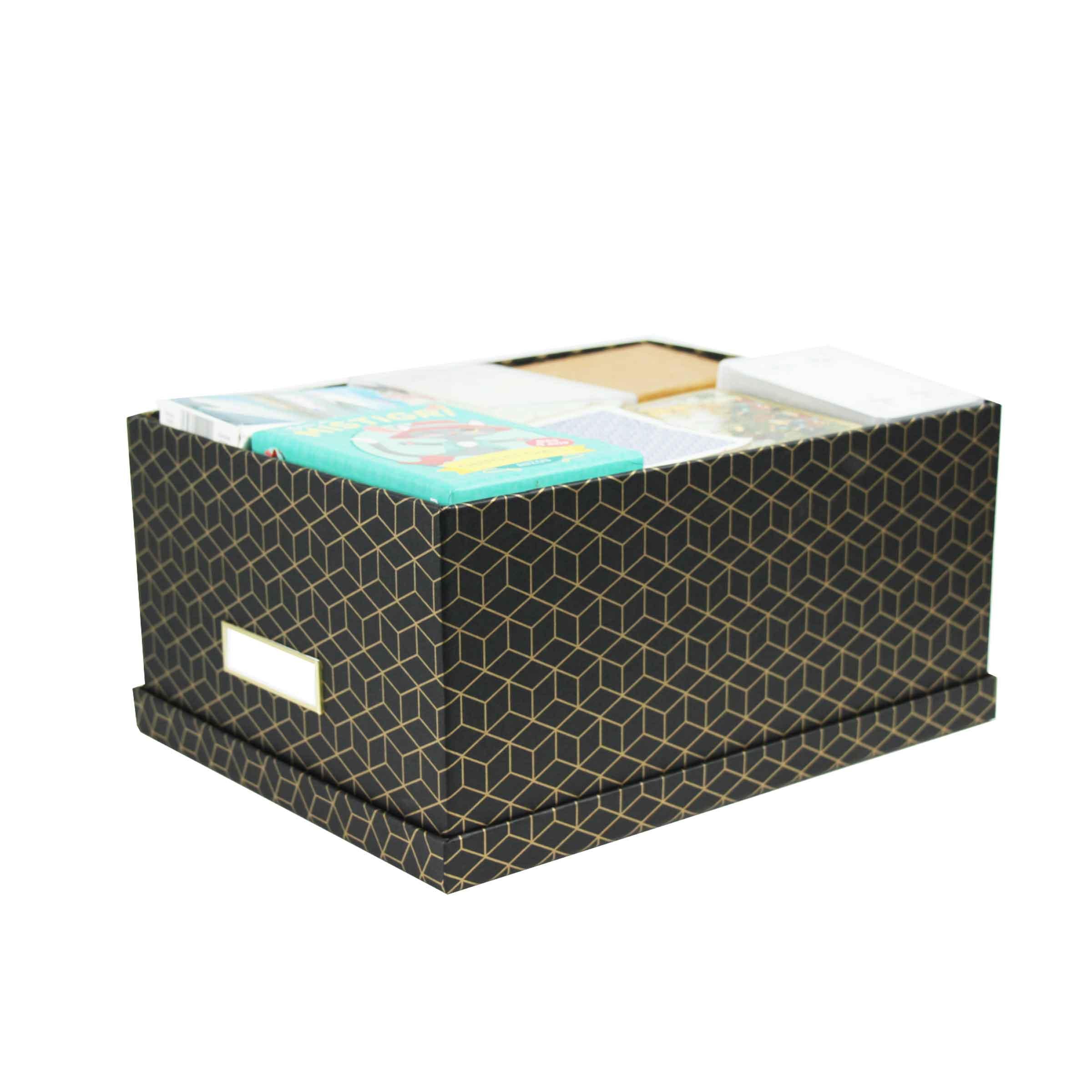 boite de rangement en carton noir et motif doré