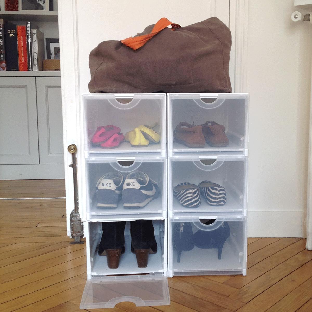 bo te rangement chaussures verte empilable. Black Bedroom Furniture Sets. Home Design Ideas