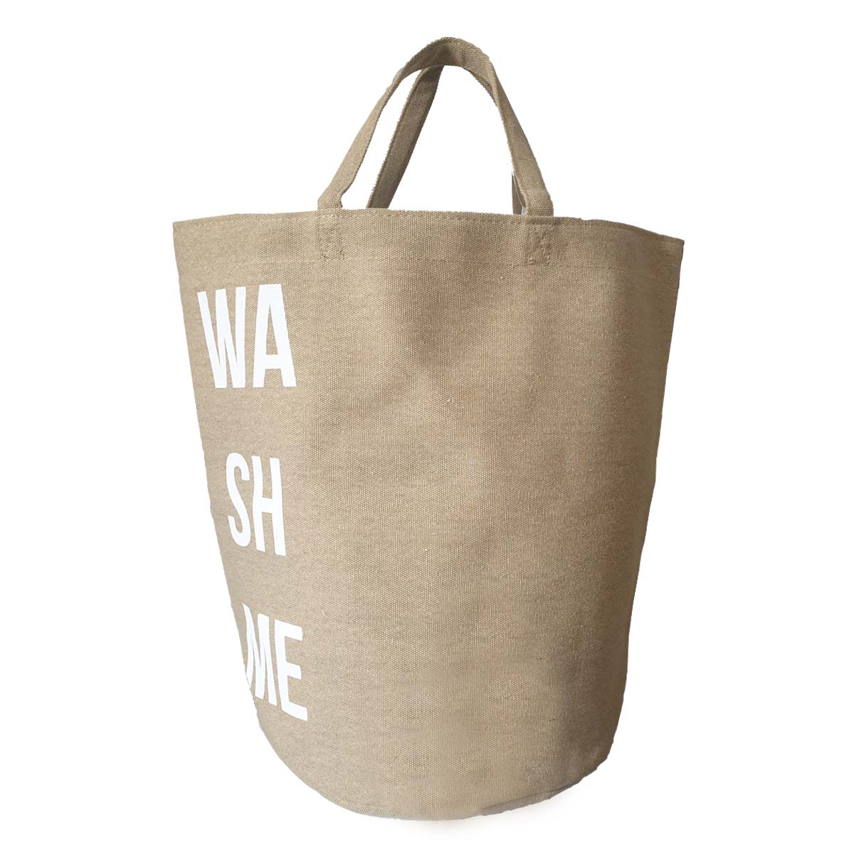 Sac à linge en tissu beige naturel avec inscription Wash It