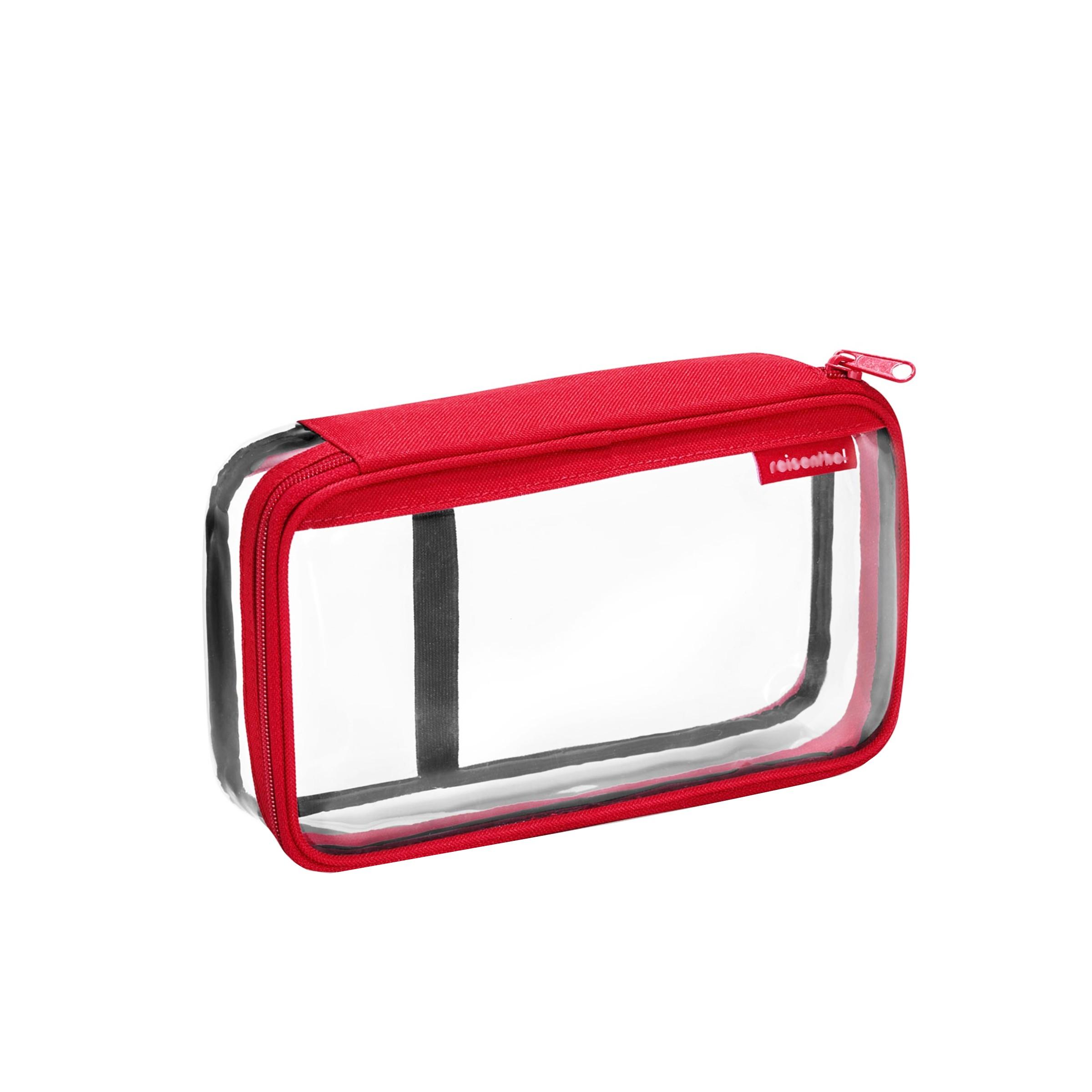 trousse de toilette transparente avec tissu et fermeture rouge